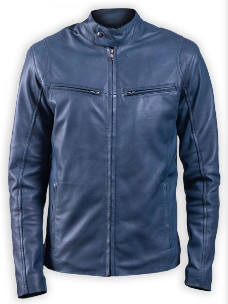 Men Ionic Blue Biker Leather Jacket
