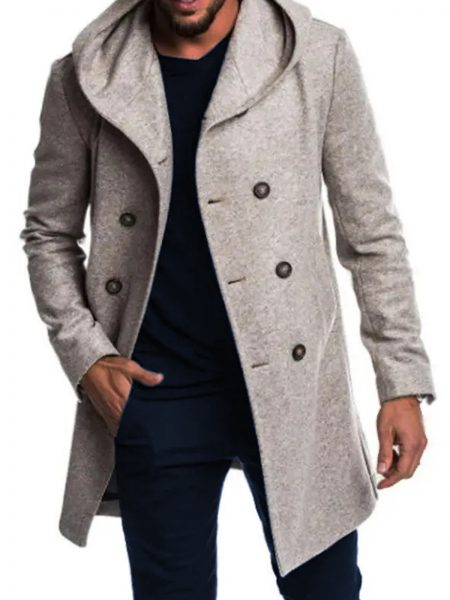 Warm Slim Mid-long Hooded Solid Color Double-Breasted Coats