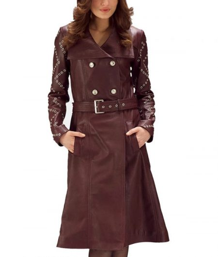 Women's Maroon Studded Trench Coat