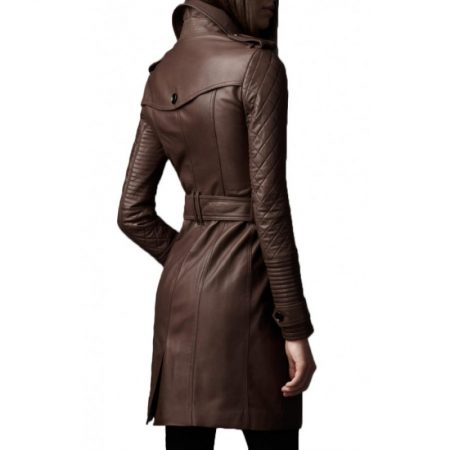 Women Mid Length Double Breasted Leather Coat