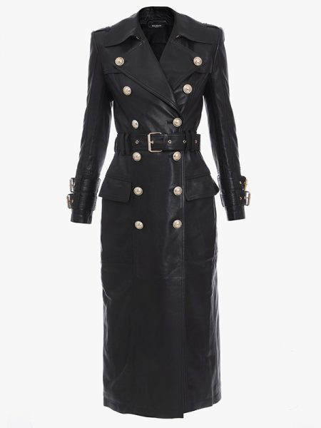 Long Black Leather Coat For Women