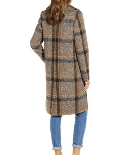 Womens Double Breasted Plaid Tweed Coat