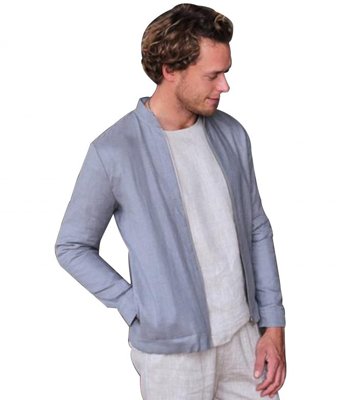Mens Linen Light Grey Jacket