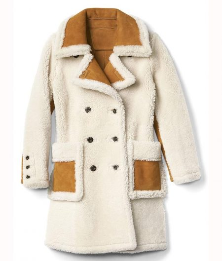 Womens Double Breasted Shearling Coat