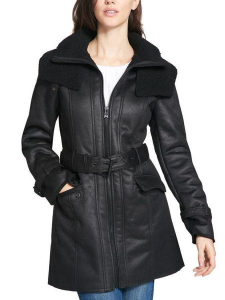 Duster Shearling Mid-Length Trench Black Coat