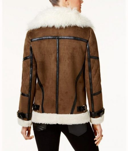 Asymmetrical Faux Leather Shearling Jacket