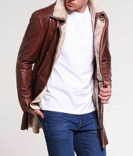 Mens Brown Leather Mid-Length Shearling Coat