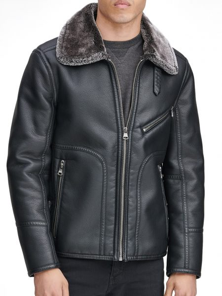 Lawrence Faux Shearling Collar Pilot Jacket