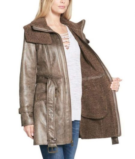 Duster Shearling Mid-Length Trench Coat