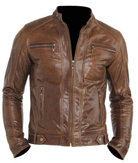 Chocolate Brown Mens Moto Jacket
