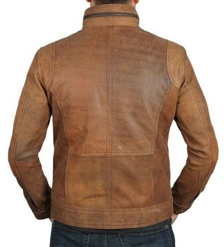 Light Brown Distressed Leather Motorcycle Jacket