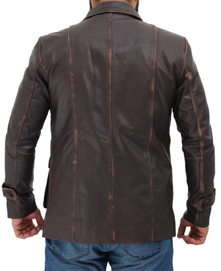 Four Button Pockets Man Distressed Brown Leather Jacket