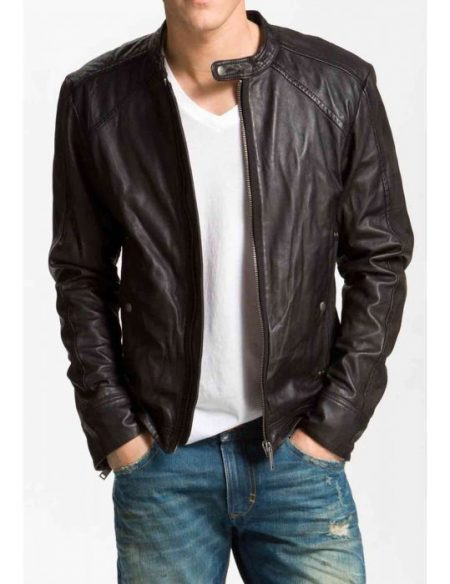 Mens Biker Blackish Brown Jacket