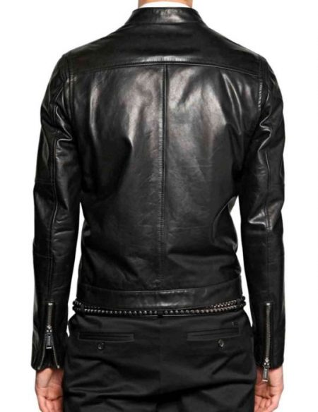 Mens Asymmetrical Zip Black Casual Jacket