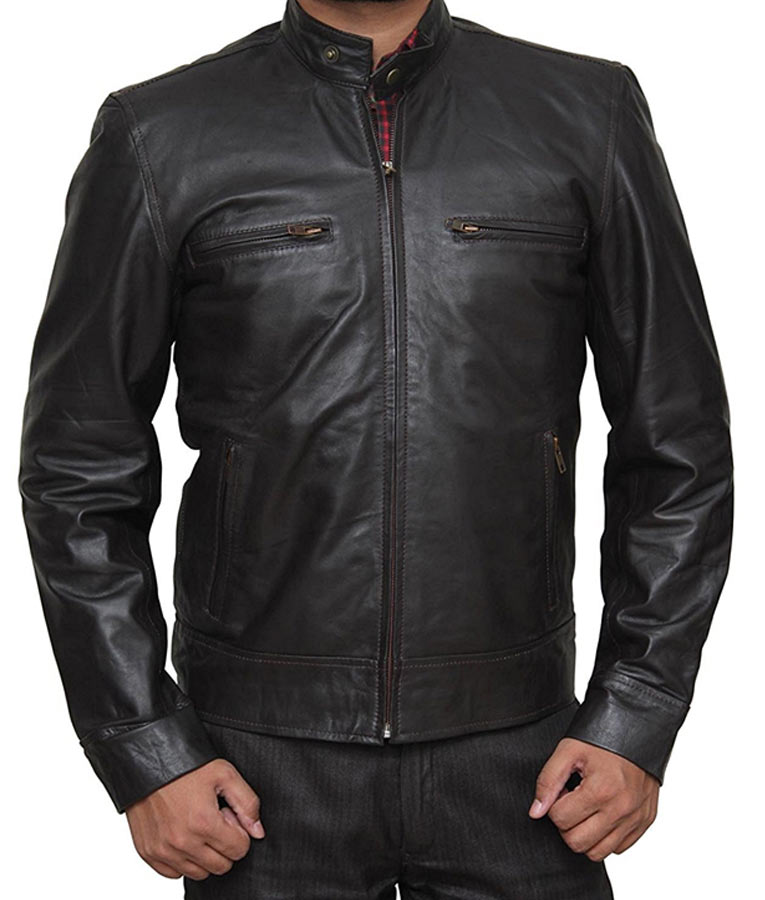 Mens Cafe Racer Casual Brown Jacket