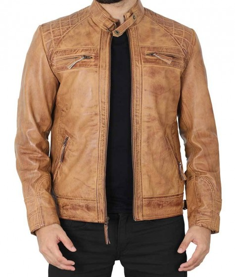 Mens Distressed Camel Brown Quilted Leather Jacket
