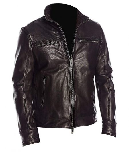Mens Black Classic Biker Leather Jacket