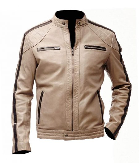 Mens Brown Striped Beige Biker Leather Jacket