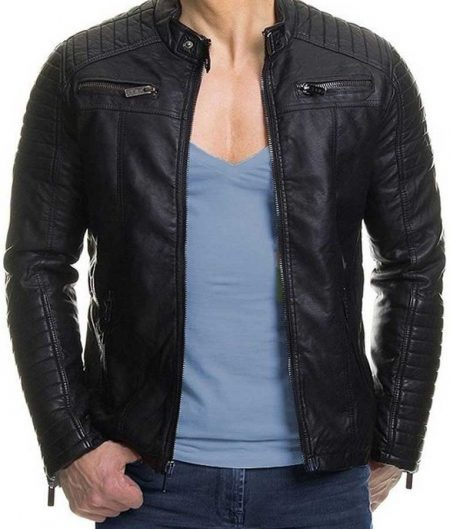 Mens Padded Slimfit Black Biker Jacket for Men