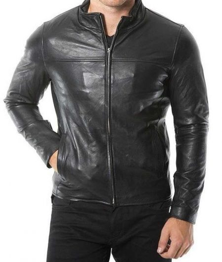 Plain Café Racer Black Jacket for Men
