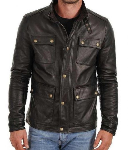 Mens Flap Pocket Black Biker Jacket