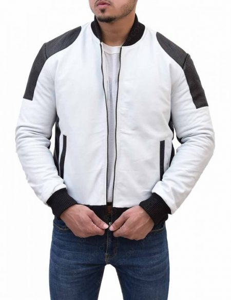 Men Black and White Moto Jacket