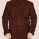 Brown Suede Leather Coat