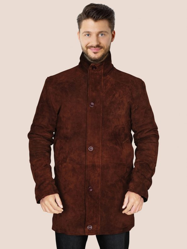 Brown Suede Leather Coat (2)