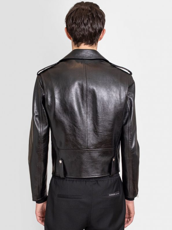 Men's Charcoal Black Leather Biker Jacket back