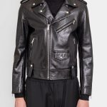 Men's Charcoal Black Leather Biker Jacket zoom