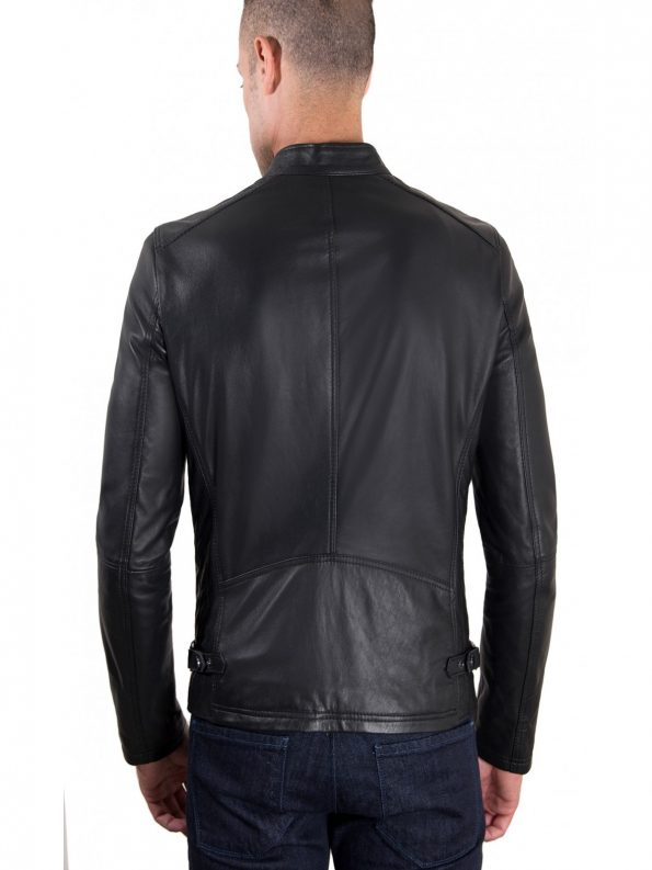 Daniel Black Lamb leather Biker Jacket Back