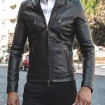 Daniel Black Lamb leather Biker Jacket Featured