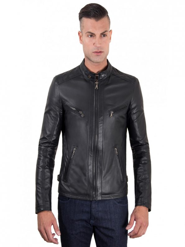 Daniel Black Lamb leather Biker Jacket Front