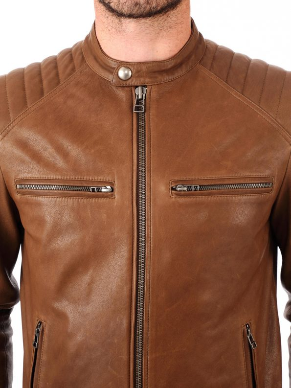 FASN490-Classic-Mens-Brown-Biker-Real-Leather-Jacket-Front-1